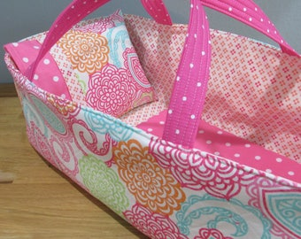 Doll Carrier, Will Fit Bitty Baby and Stella Dolls, Colorful Zinnia and Paisley Fabric with Pink Lining, 16 Inches Long