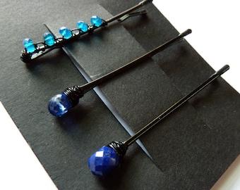 Blue Gemstone Trio Bobby Pin Pack - Something Blue - Apatite, Kyanite, Lapis