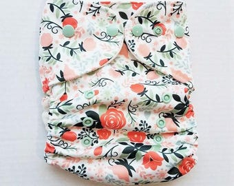 One Size, cloth diaper cover, fleece lined PUL with AI2 option, sage and coral rose garden
