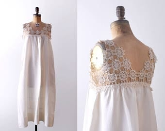 1910's crochet nightgown. Ivory cream. l. 10's lace negligee. Edwardian