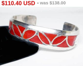 Spring Fling Sale Sterling Silver Cuff Bracelet - Inlaid Red Carnelian - Southwestern Silversmithing - Artisan Signed with 4 Mountain Mar...