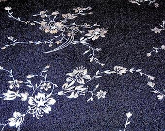 Vintage Fabric Silver Embossed Black Remnant