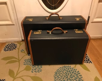 Vintage Luggage 2 Pieces Blue with Brown Leather Trim Travel in Style From Another Time and Place Stackable Suitcases Vintage Suitcases