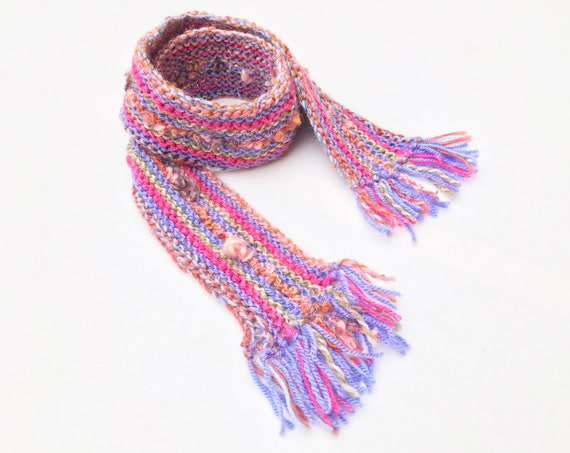 Candy Pink Pixie Scarf - Soft & Warm Pink Scarf for Kids - Children's Pink Striped Scarf very warm soft textured - pink scarf for children