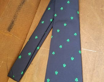 Blue with Green Shamrocks Tie - Millars made in Ireland