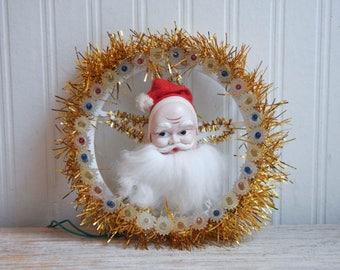 Vintage Santa Clause Light Up Wreath Decoration, Kitsch Retro Xmas Decor