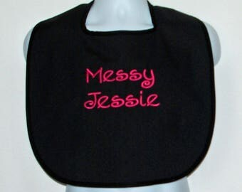 Messy Jessie Funny Adult Bib, Canvas, Clothing Cover Up Protector, Personalized With Name, No Shipping Charge, Ready To Ship TODAY, AGFT 376