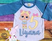 LOL Birthday Shirt Any Age 1 2 3 4 5 6 7 8 birthday shirt Doll birthday party shirt LOL party raglan age Custom Birthday Shirt Add Name