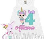 LOL Birthday Dress Any Age 1 2 3 4 5 6 7 8 birthday shirt Doll birthday party shirt LOL party Fringe Dress age Custom Birthday dress  Name