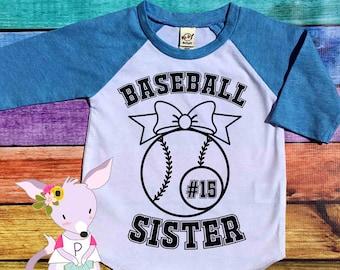 Baseball Sister Shirt Number Baseball Sis Shirt Baseball Girls Team Shirt Baseball Girls Number Little Sister Big Sister Baseball Shirt Girl