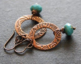 Textured Copper Hoop Earrings, Rustic Copper Earrings, Handmade Earrings