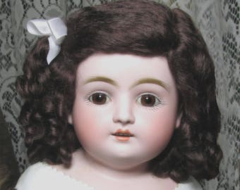 Doll wig Dark brown mohair beauty for French and German dolls