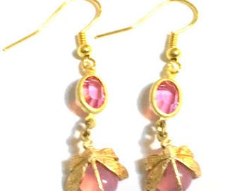 Steampunk Dragonfly, Pink Crystal Earrings, Vintage Pink Opal Glass. Brass Dragonfly Earrings