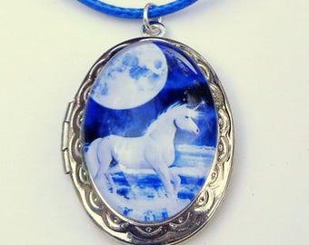 Unicorn Cameo, Locket Necklace, White & Blue, Glass Capped, Lady's Gift, Steam Punk, Vintage Style Locket, Edwardian Fantasy