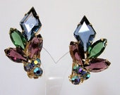 Purple Blue Green Rhinestone Earrings, Aurora Borealis Glass Stones, Gold Tone Clip On Style, Mid Century Jewelry 917