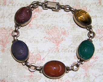 Symmetalic Carved Stone Scarab Bracelet, Sterling Silver 12k Gold Filled Jewelry, WRE Jewelry, Tigers Eye, Chalcedony, Carnelian 717