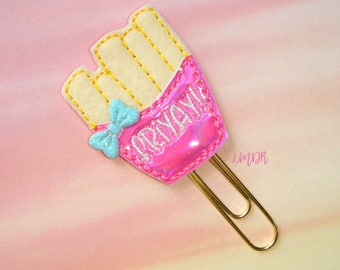 FriYay Bright Pink Paperclip Planner Clip pastel fries