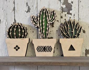 Cactus Set of 3 Wood Cut Wall Art Sign Decor Boho Nusery Home Pool Room