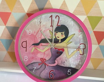 Illustrated wall clock * Fairy lOve *.