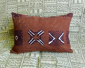 """Two pillows, African Brown Mudcloth Pillow 18"""" x 13"""" African mudcloth bogolanfini accent pillows"""