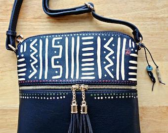Painted Black Brick  Hand painted Tassle Bogolan Crossbody Handbag with Mudcloth design African purse zipper artisan gift