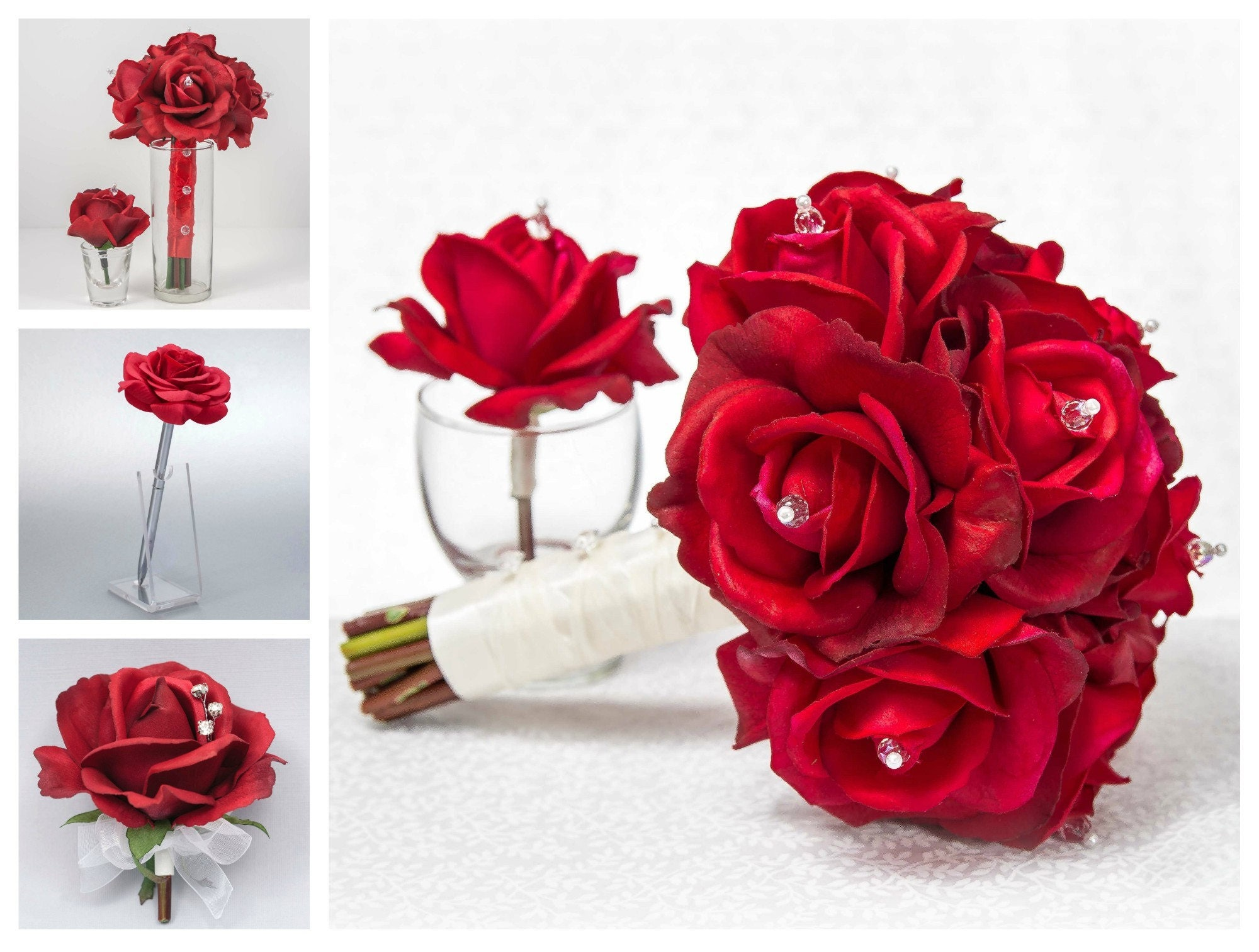 Red Rose Wedding Bouqet.Red Rose Wedding Flower Package 11 Piece