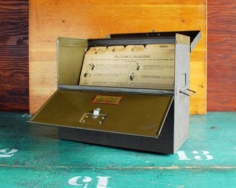 Antique Y and E Record Chest, Portable File Box