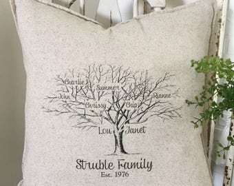 Mother's Day Gifts | Family Reunion Gifts |  Family Name Sign | Family Tree Pillow Personalized with Names and Est. Date - Insert Included