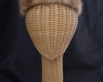 Vintage 1960's Blond Mink Helmet Hat by Anne Marie, Quebec Free Shipping US/Vintage Mink Hat by Anne Marie Quebec