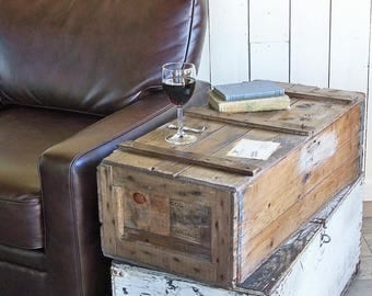 """Large Vintage Shipping Crate  - Industrial Wood Box """"An Ode to Looney Tunes"""""""