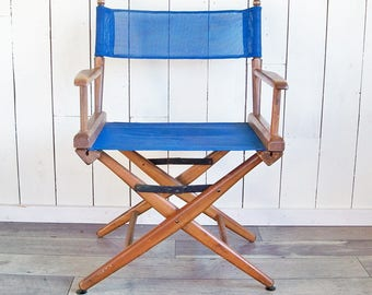 Vintage Wood Folding Director's Chair - Blue Mesh Seat & Back