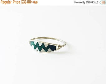 ON SALE Vintage Silver Inlaid Bangle