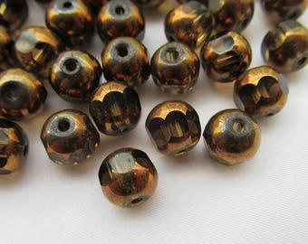 40pcs Brown Plated Brown Glass Beads 8mm Faceted Beads s026