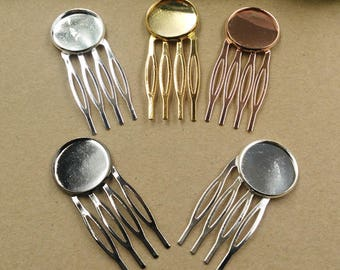 Wholesale 20 Hair Comb W/ 20mm Round Bezel Setting Brass Antique Bronzed/ Silver/ Gold/ White Gold/ Rose Gold/ Gun-Metal Plated - Z7932