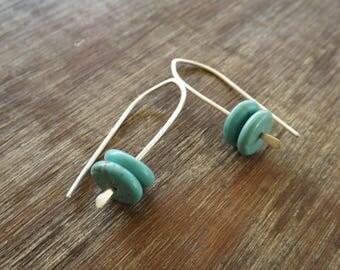 Turquoise Sterling Silver Earrings, Modern Sterling Silver Earrings, Feminine Earrings on Etsy