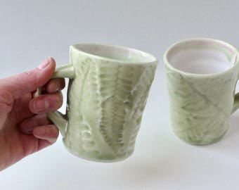 Celadon pale green mug in Fishbone Fern design