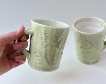 Celadon pale green mug in Fishbone Fern design