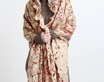 Felt creme cobweb felt shawl, light thin felt shawl, plant motifs shawl, all season scarf, Regina Doseth handmade in Lithuania Europe