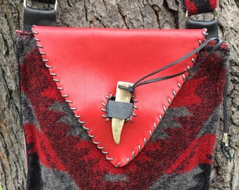 Red, Black & Grey Wool and Leather Bag