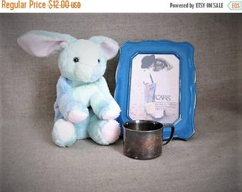 Memorial Day Vintage Silver Plate Baby Cup / 70's Silver Plate Toddler Cup With Engraved Bunny Rabbit / Heirloom Towle Baby Cup Shabby Style