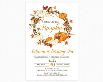 Pumpkin Birthday Party Invitation, Pumpkin Flower Wreath, 1st Birthday, Milestone, Personalized, Printable or Printed