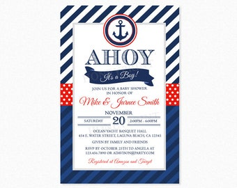 Nautical Baby Shower Invitation, Ahoy It's a Boy, Red, Blue, Anchor, Stripes, Polka Dots, Printable or Printed