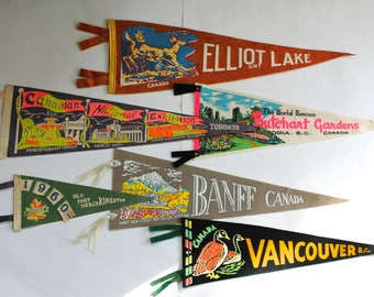 Vintage 1950's Lot of 6 Canadian Souvenir Wall Pennants!