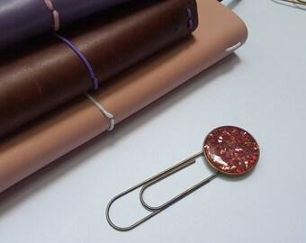 Pink glitter, metal bookmark, unique bookmark, travelers notebook, planner clip, planner accessories, glitter planner clip, TN accessories