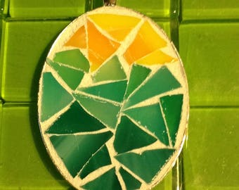 Mosaic sunrise at the beach oval silver plate pendant