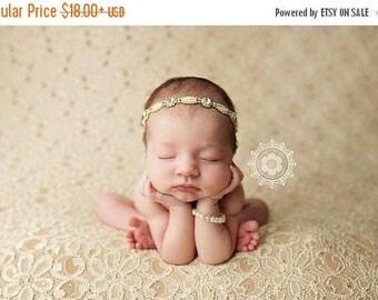 ON SALE Rhinestone headband, pearl and rhinestone headband,gold newborn headband, newborn photography prop, baby headband, many sizes availa