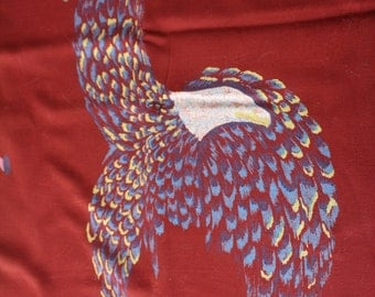 Vintage 1940s  Rayon Fabric Maroon with Eagles  Almost 5 Yards