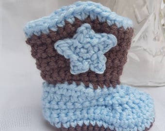 Crocheted Boy Baby Newborn Cowboy Boots Brown and Blue Photo Prop Baby Shower Gift
