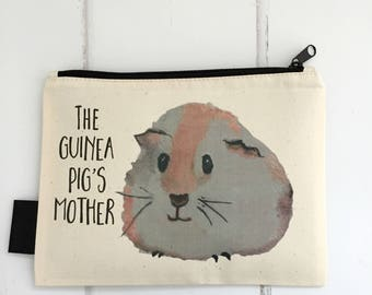 Guinea Pig Treat Bag | Guinea Pig Zip Pouch | Guinea Pig Storage | Lined Treat Bag | Guinea Pig Gift | Guinea Pig's Mother