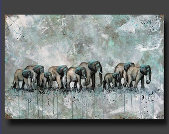 Simplicity Series - Elephant Painting, Herd of Elephants - Abstract Elephants - Modern Contemporary Art by Britt Hallowell